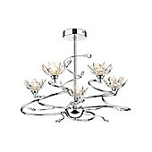 Modern Floral Ceiling Light with Spiralling Arms