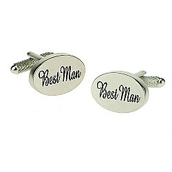 Silver Satin Oval Best Man Wedding Cufflinks