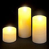 Set of 3 Wax Pillar Candle LED Lights