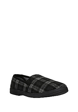 F&F Checked Closed Back Slippers - Black