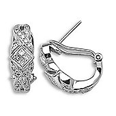 Jewelco London 18 Carat White Gold 56pts Diamond Earrings