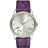 French Connection FCUK Ladies Leather Stone Set Watch FC1053SS