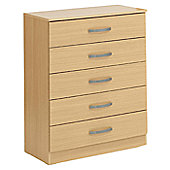 Ideal Furniture Budapest Five Drawer Chest - Oak