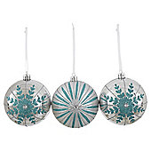 Silver and Green Snowflake Christmas Baubles, 3 pack