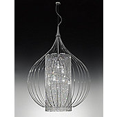 Metal Lux Goccia Six Light Pendant - Silver