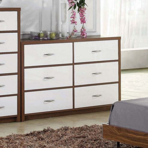 Home Zone Milan 6 Drawer Chest in Walnut