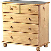 Sol 3+2 Drawer Chest in Antique Pine - 5 Chest/Table/Cabinet - Solid Pine