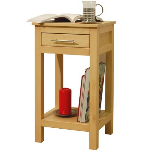 Techstyle Solid Wood Storage Telephone / End Table - Natural