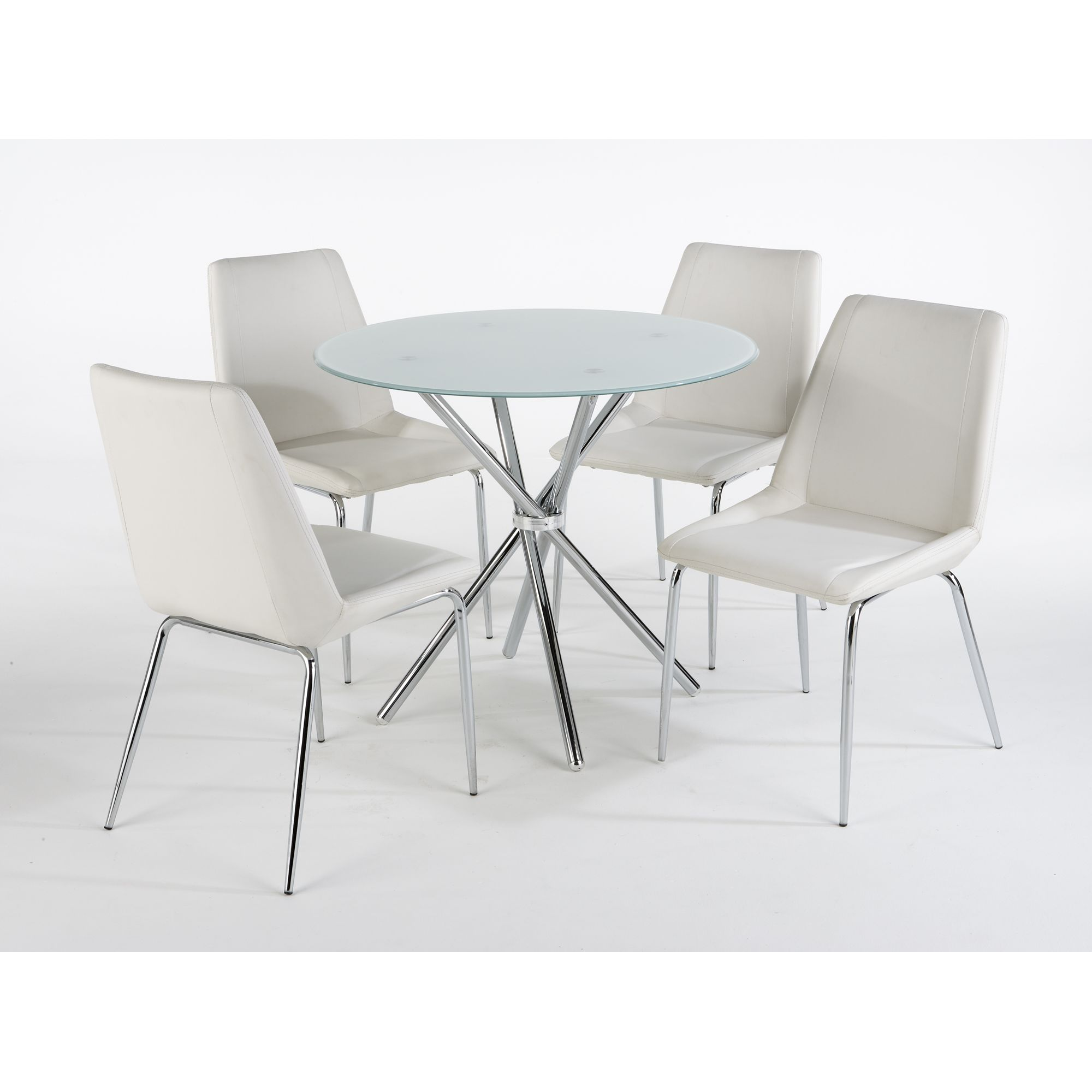 Elements Miami 5 Piece Dining Table Set - Frosted White at Tesco Direct