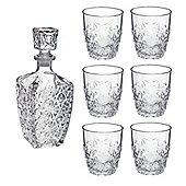 Bormioli Rocco Dedalo whisky / Spirit Decanter (750ml) / 6 Glasses Set (260ml)