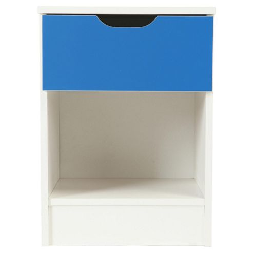 Jasper Bedside Table, White/Blue