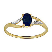 Gemondo 9ct Yellow Gold 0.51ct Natural Blue Sapphire & Diamond Single Stone Ring