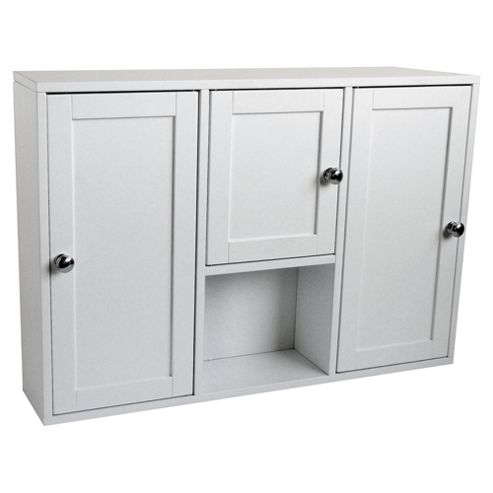 Buy 3 door bathroom cabinet white from our bathroom wall for Bathroom cabinets tesco