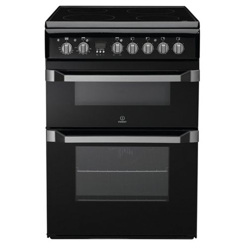 Indesit ID60C2(K)S Black Electric Cooker, Double Oven