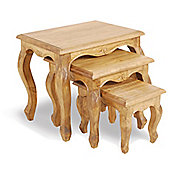 Ultimum Classic Pine Carved 3 Nest Of Tables