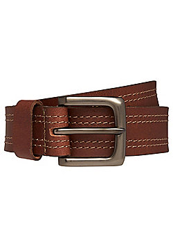 F&F Double Stitch Leather Belt - Brown