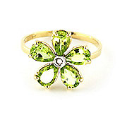 QP Jewellers Diamond & Peridot Foliole Ring in 14K Gold