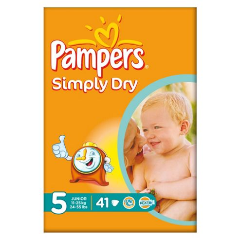 Pampers Simply Dry Size 5 Large Pack - 41 nappies