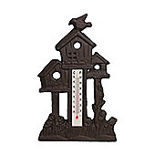 Decorative Cast Iron Bird on a Bird House Thermometer