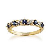 Gemondo Yellow 9ct Gold 0.55ct Natural Sapphire & Diamond Half Eternity Ring