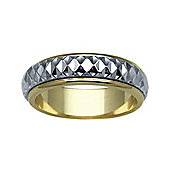 Bespoke 18 carat Yellow & White Gold 6mm Two Piece Wedding Ring with Spinning Center Band.