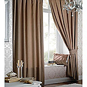 Catherine Lansfield Home Plain Faux Silk Curtains 90x90 (229x229cm) - LATTE - Tie backs included