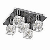 Ritz Five Way Ice Cube Ceiling Light Fitting in Black Chrome