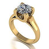 18ct Gold 8.0mm Round Brilliant Moissanite Single Stone Ring
