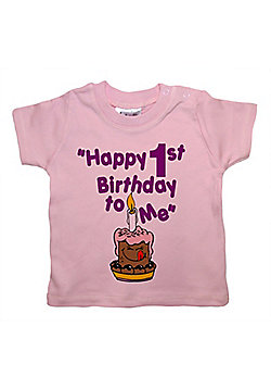 Dirty Fingers Happy 1st Birthday to Me Baby T-shirt - Pink