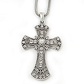 Caviar Pearl and Swarovski Crystal 'Crux Invicta' Statement Cross Pendant and Chain (Silver Plating) - 36cm Length/ 8cm Extension