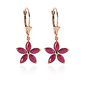 QP Jewellers 2.80ct Ruby Flower Star Earrings in 14K Rose Gold