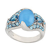 Gemondo Sterling Silver 2.50ct Blue Jade & 1.00ct Blue Topaz Cluster Statement Ring