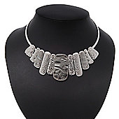 Ethnic Hammered Bar Choker Necklace In Light Silver Plating - 36cm Length