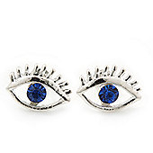 Teen Rhodium Plated 'Eyes' With Blue Crystal Stud Earrings - 14mm Width