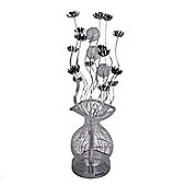 Aluminium Flower Floor Lamp in Silver & Black