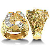9ct Solid Gold heavy weight horse shoe Ring hand-set with CZ stones