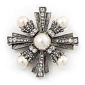 Vintage Burn Silver Diamante 'Cross' Brooch - 6cm Diameter