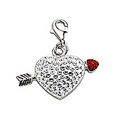 Jewelco London Rhodium Plated Sterling Silver Red & White Crystal Heart Charm