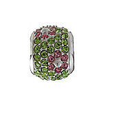 Amore & Baci Green Crystal Pave Bead with Pink Flowers