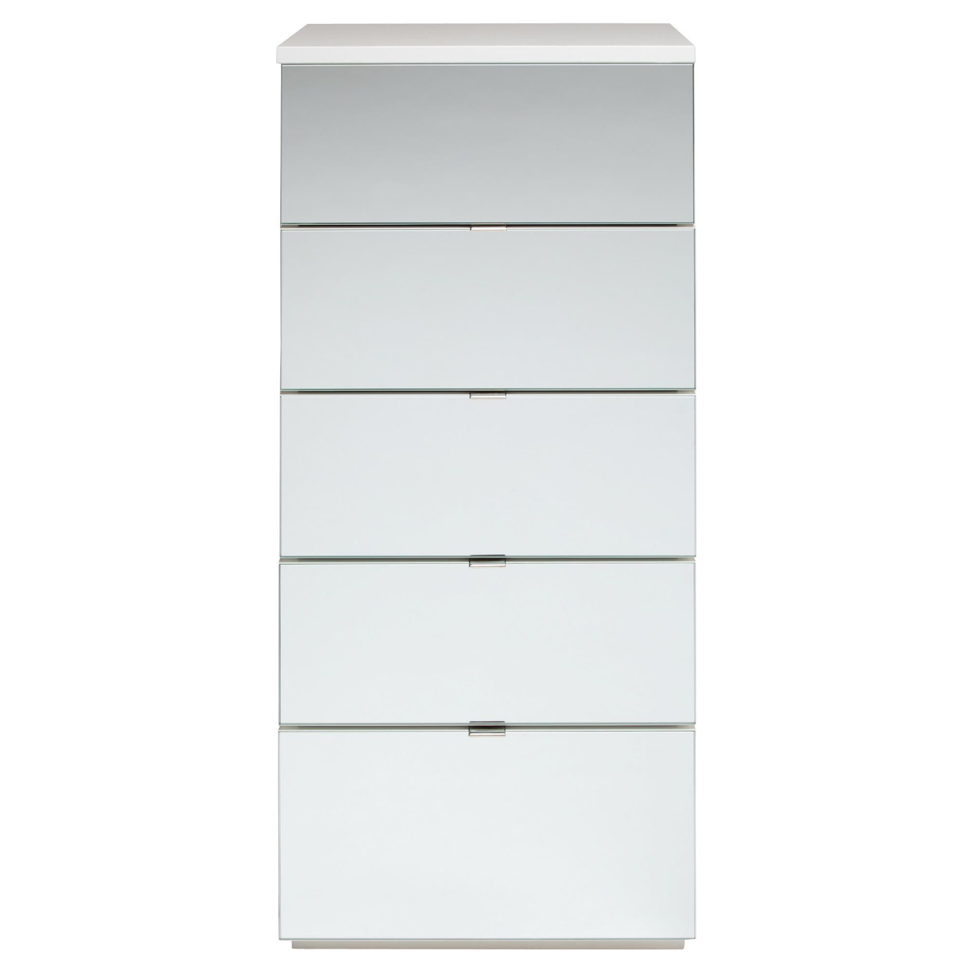 Palermo Tall Boy Chest White Mirrored at Tesco Direct