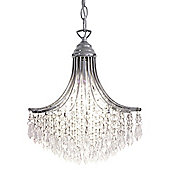 1 Light Crystal Chandelier with Chrome Frame and Waterfall Design