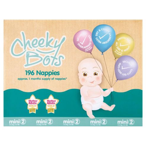 Tesco Cheeky Bots, Mini Size 2, 196 Nappies