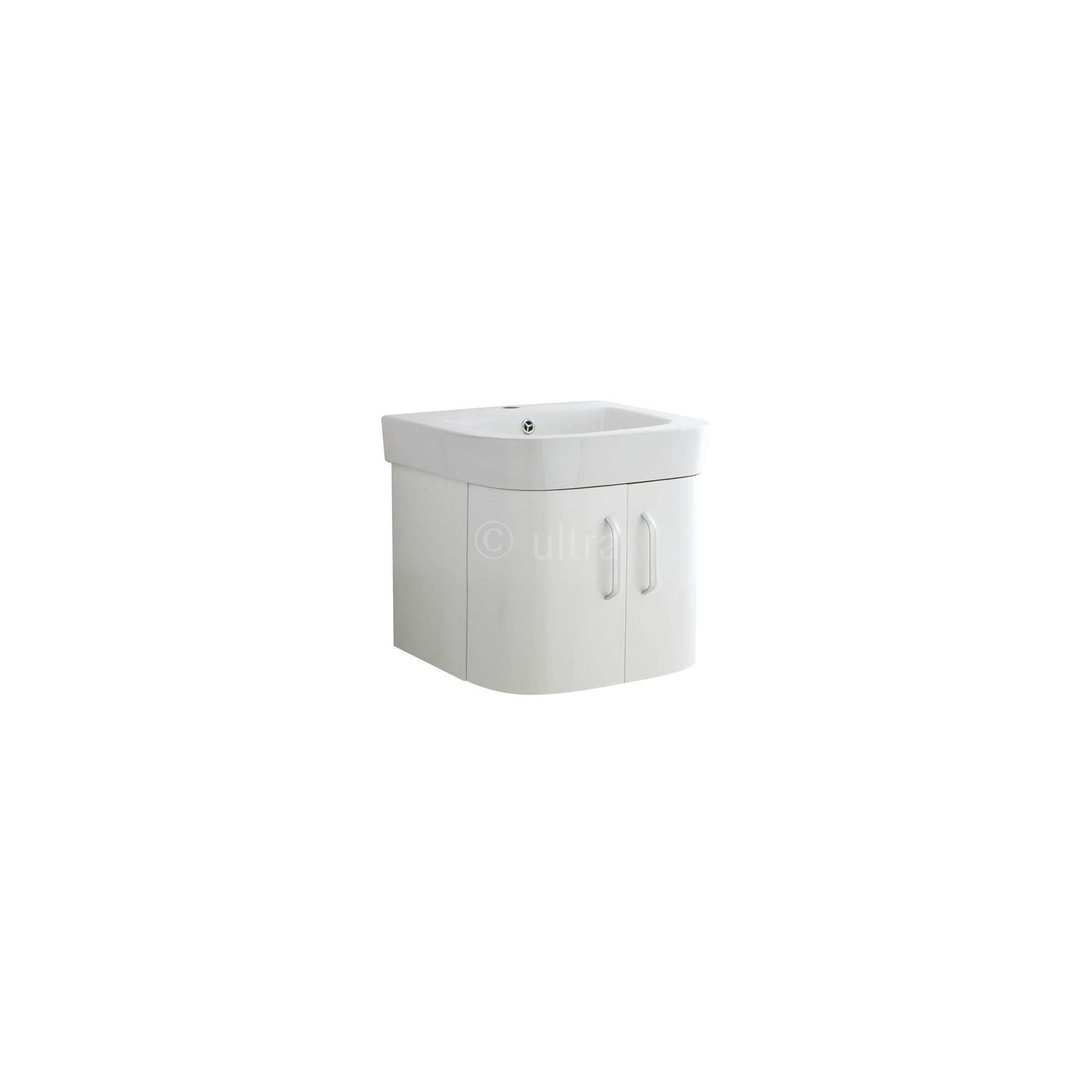 Ultra Carlton White Wall Mounted Vanity Unit and Basin 450mm high x 500mm Wide