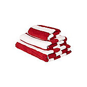 Nautical Red Wide Stripe Hand Towel