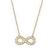Gold plated necklace with medium pave infinity symbol