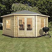 13ft x 13ft (4m x 4m) Corner Log Cabin (Single Glazing) + Large Windows 44mm