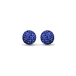 Jewelco 9ct Gold 8mm Crystal Disco Ball Studs - Blue Sapphire Colour