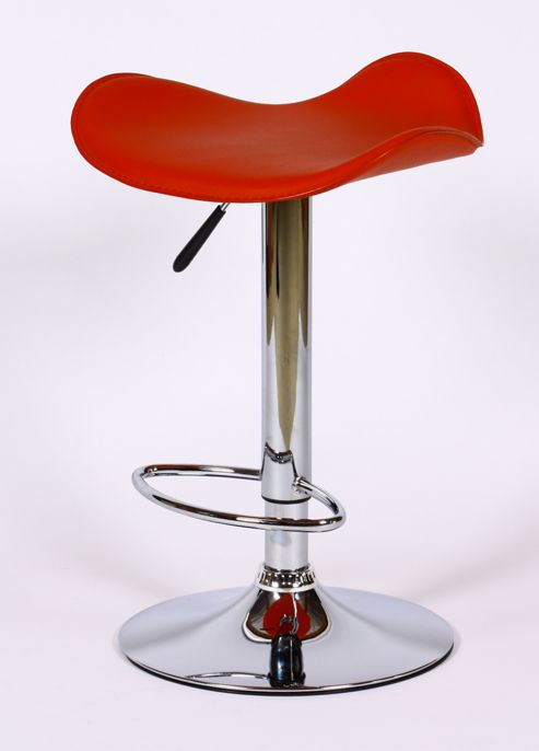 Saturn Red Faux Leather Bar Stool