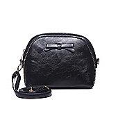 Black Bow Detail Curved Handbag