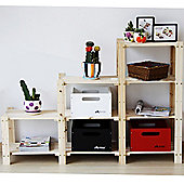 James - Solid Wood Four Tier Stepped Storage Shelves - Natural